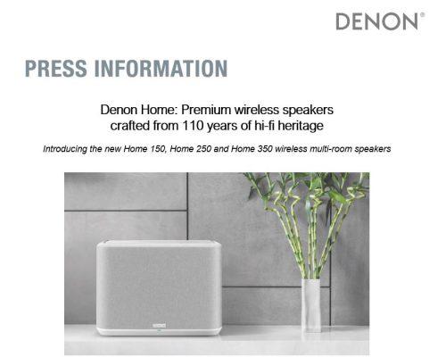 Denon (Sound United) press release headline 2